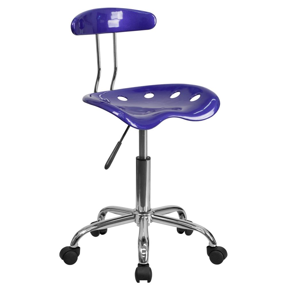 Vibrant Deep Blue and Chrome Swivel Task Office Chair with Tractor Seat. Picture 1