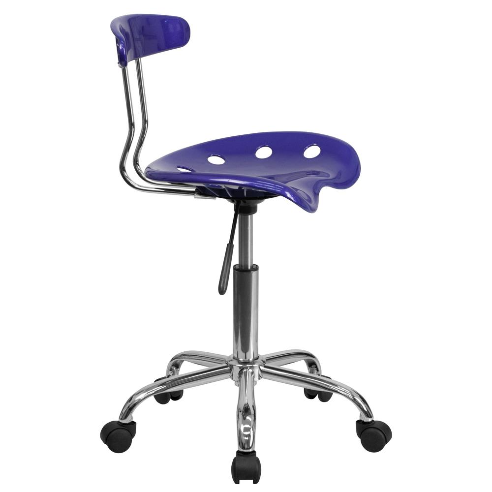 Vibrant Deep Blue and Chrome Swivel Task Office Chair with Tractor Seat. Picture 3