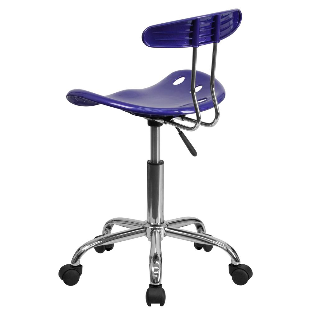 Vibrant Deep Blue and Chrome Swivel Task Office Chair with Tractor Seat. Picture 4