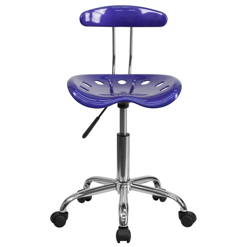 Vibrant Deep Blue and Chrome Swivel Task Office Chair with Tractor Seat. Picture 5