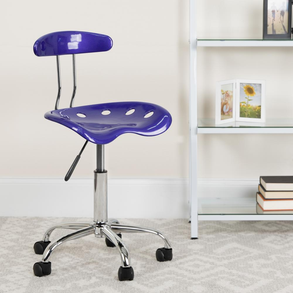 Vibrant Deep Blue and Chrome Swivel Task Office Chair with Tractor Seat. Picture 6