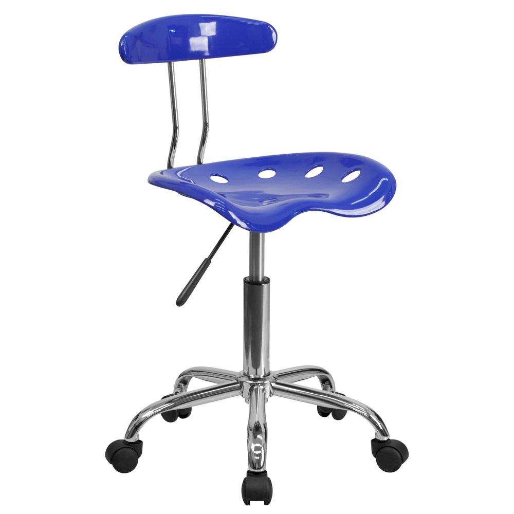 Vibrant Nautical Blue and Chrome Swivel Task Office Chair with Tractor Seat. Picture 1