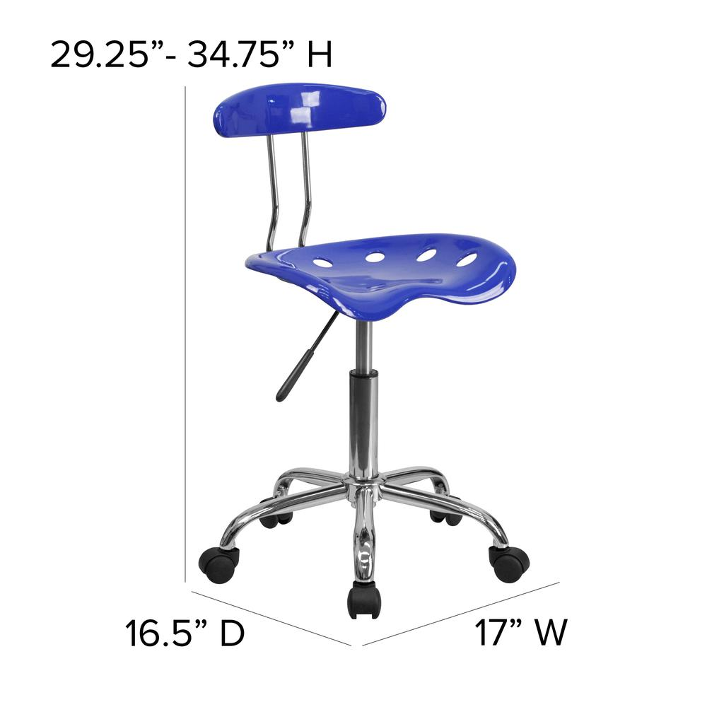 Vibrant Nautical Blue and Chrome Swivel Task Office Chair with Tractor Seat. Picture 2