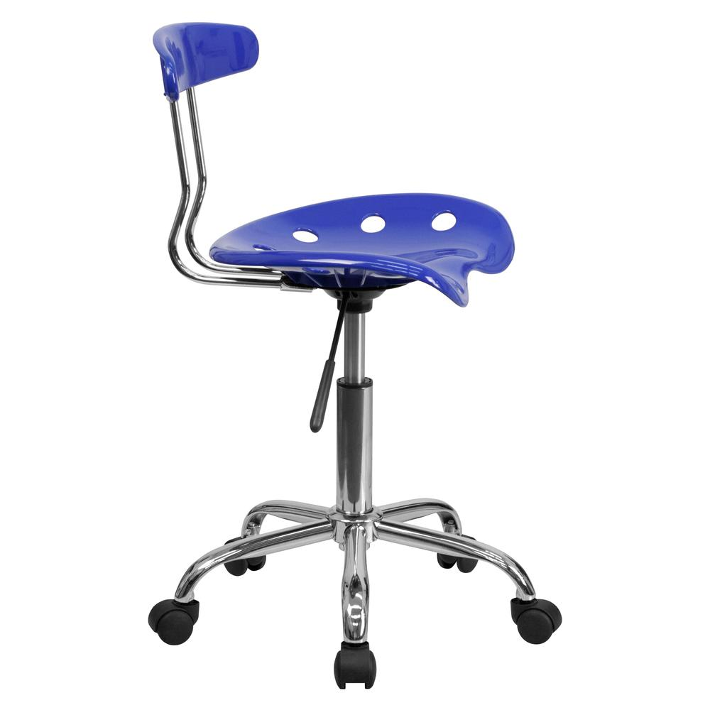 Vibrant Nautical Blue and Chrome Swivel Task Office Chair with Tractor Seat. Picture 3