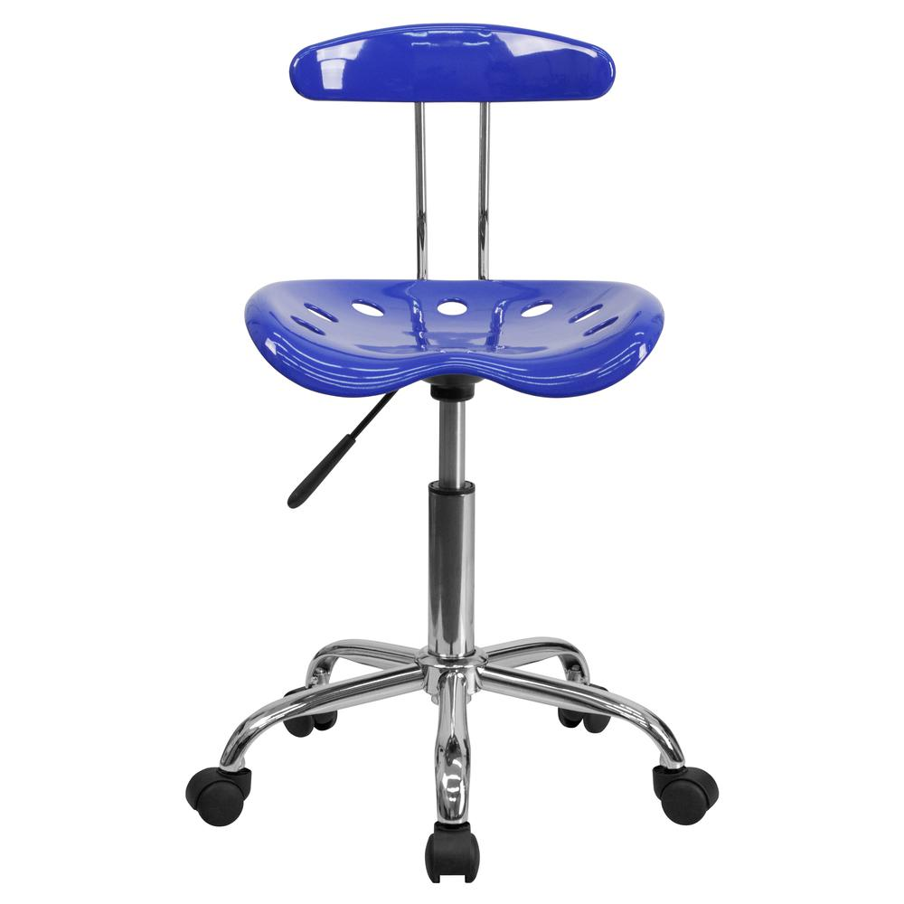 Vibrant Nautical Blue and Chrome Swivel Task Office Chair with Tractor Seat. Picture 5