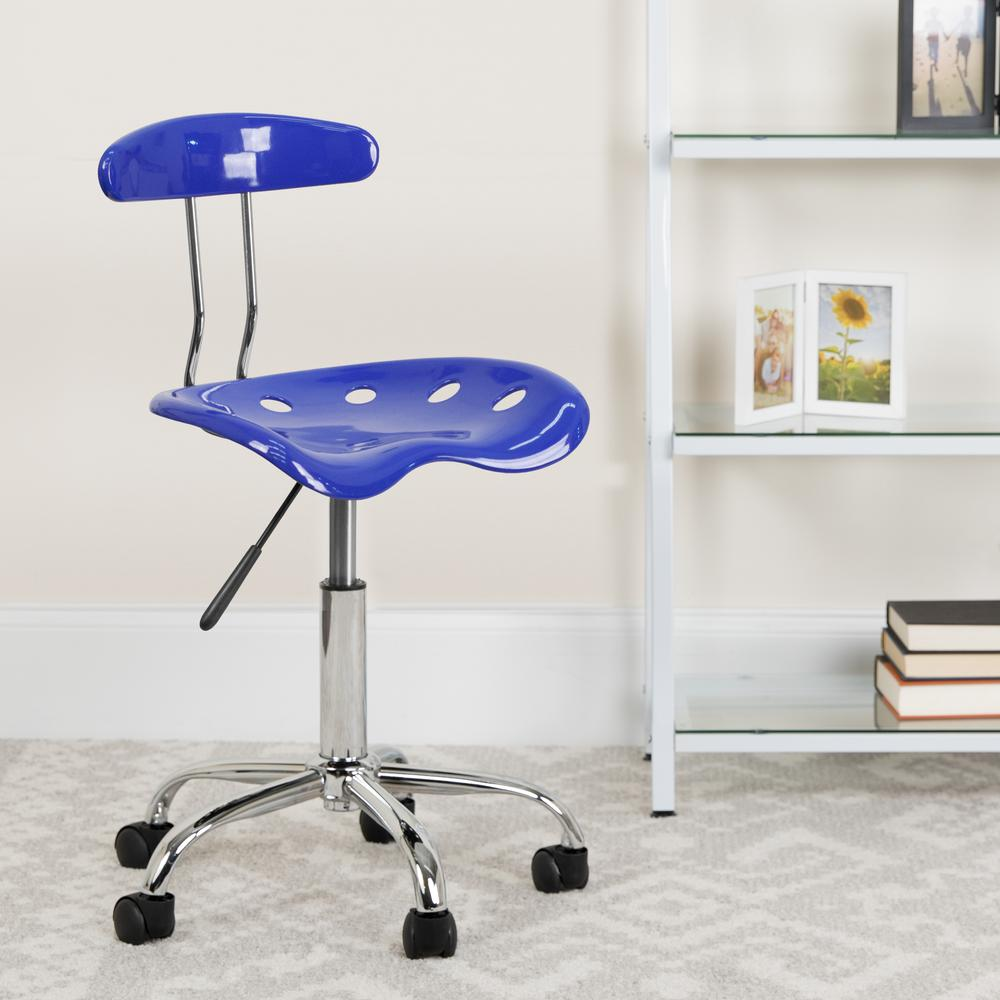 Vibrant Nautical Blue and Chrome Swivel Task Office Chair with Tractor Seat. Picture 6