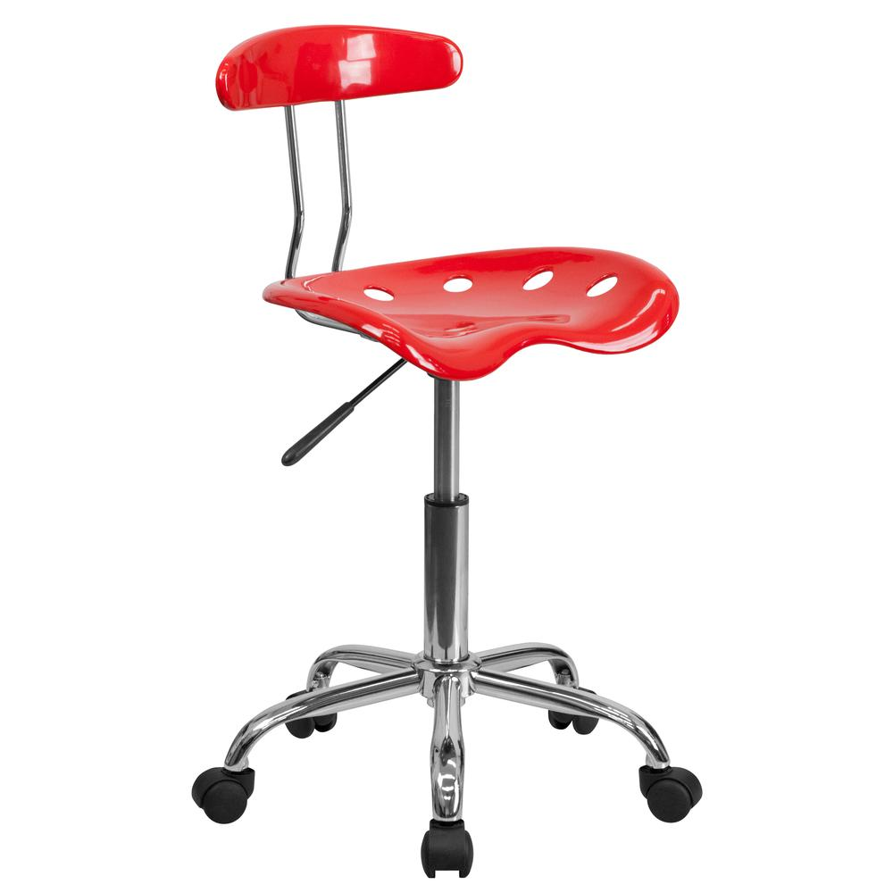 Vibrant Red and Chrome Swivel Task Office Chair with Tractor Seat. Picture 1