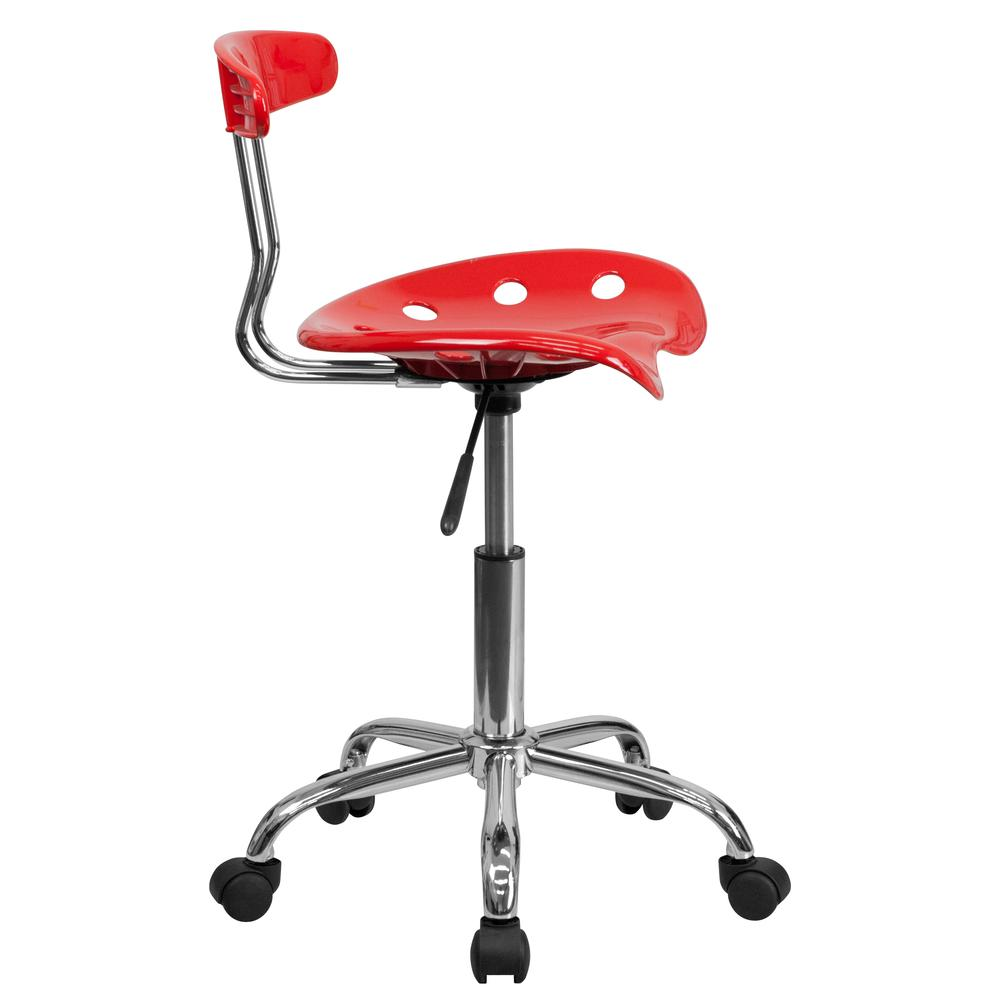 Vibrant Red and Chrome Swivel Task Office Chair with Tractor Seat. Picture 3