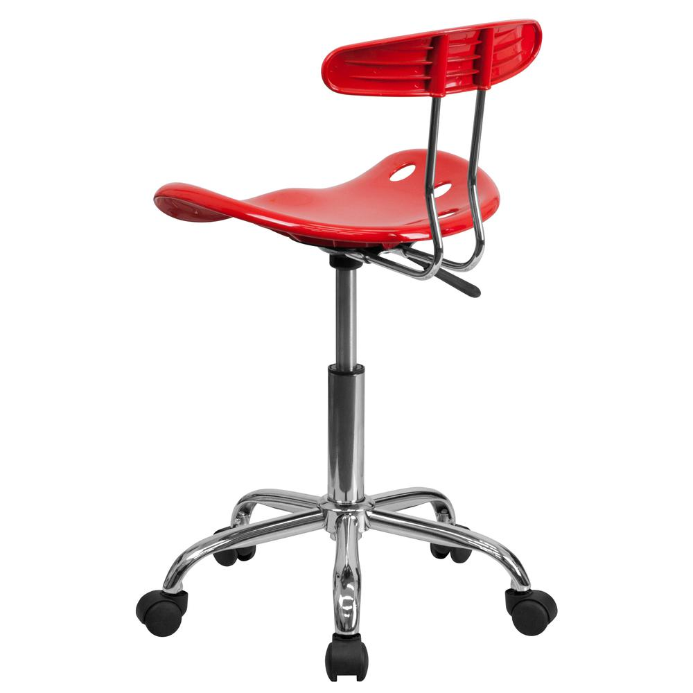 Vibrant Red and Chrome Swivel Task Office Chair with Tractor Seat. Picture 4