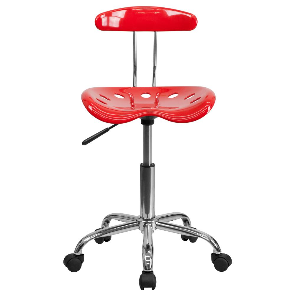 Vibrant Red and Chrome Swivel Task Office Chair with Tractor Seat. Picture 5