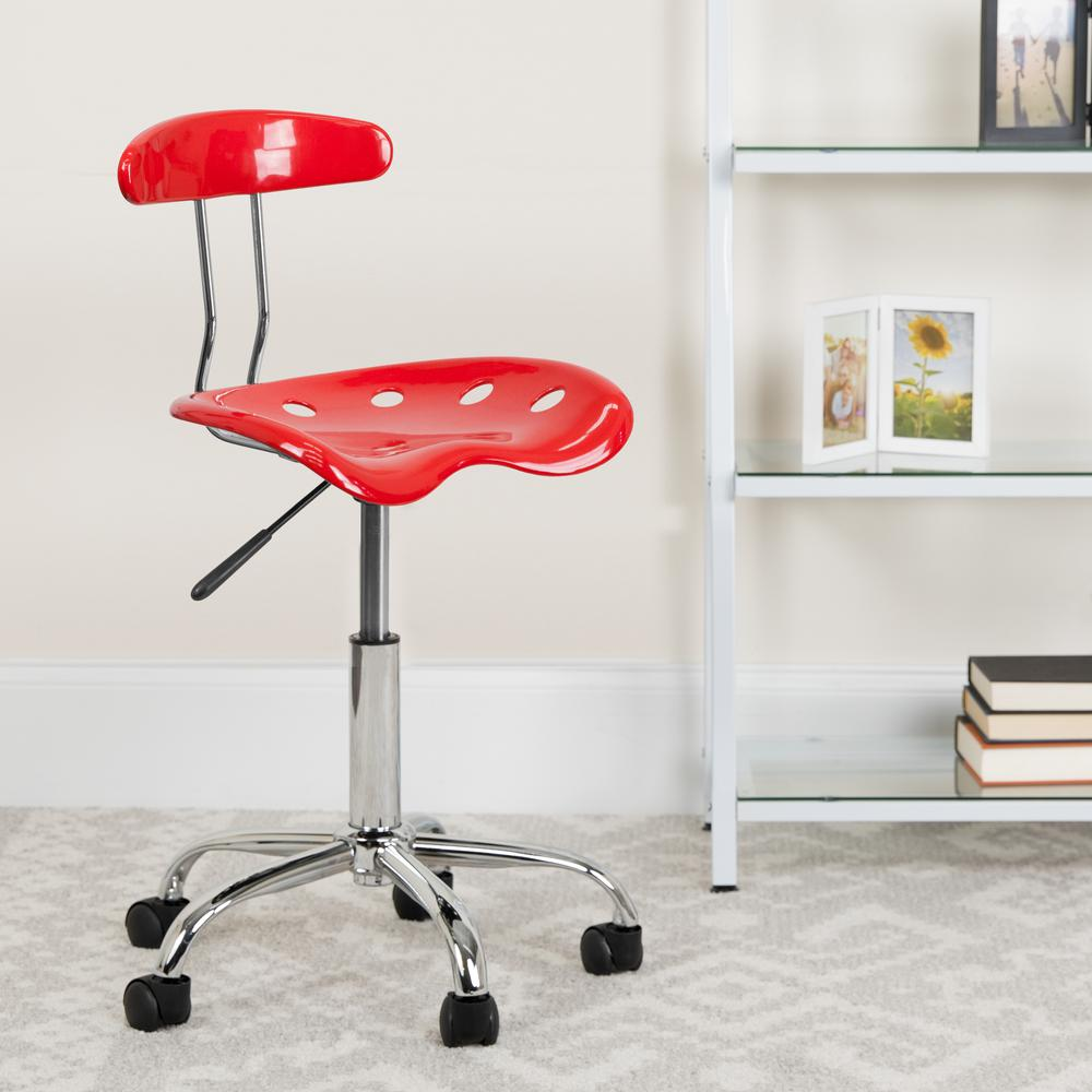 Vibrant Red and Chrome Swivel Task Office Chair with Tractor Seat. Picture 6