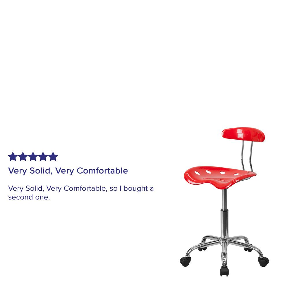 Vibrant Red and Chrome Swivel Task Office Chair with Tractor Seat. Picture 7
