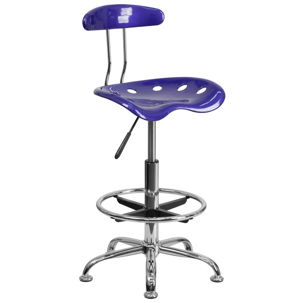 Vibrant Deep Blue and Chrome Drafting Stool with Tractor Seat. Picture 1