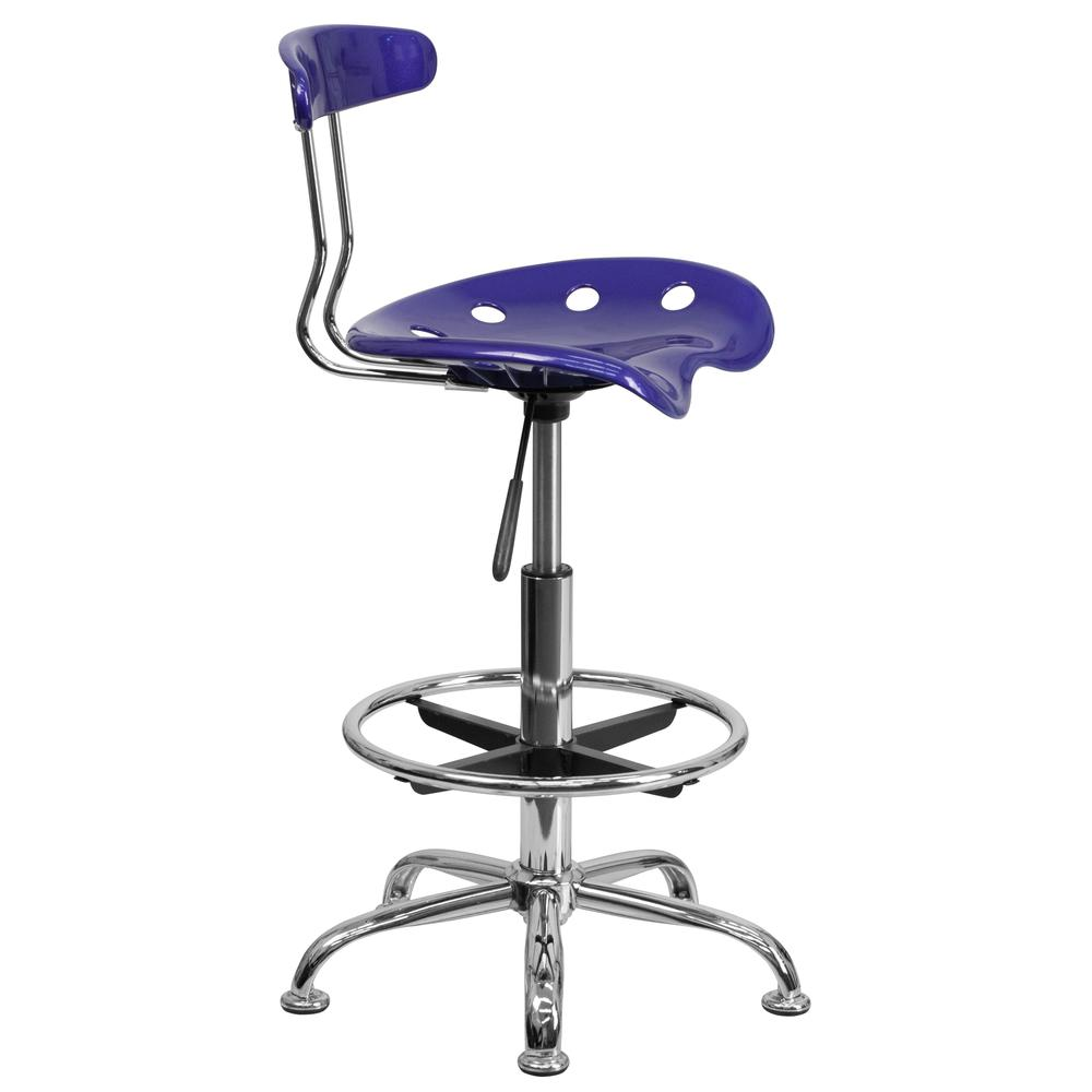 Vibrant Deep Blue and Chrome Drafting Stool with Tractor Seat. Picture 2