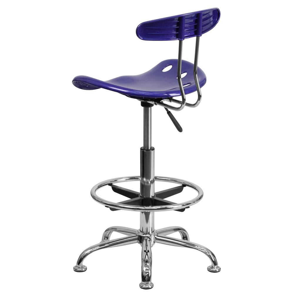 Vibrant Deep Blue and Chrome Drafting Stool with Tractor Seat. Picture 3