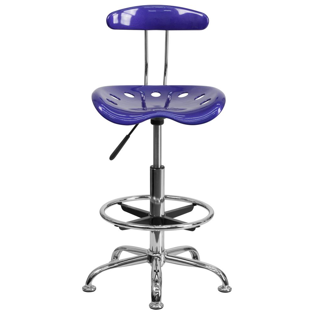 Vibrant Deep Blue and Chrome Drafting Stool with Tractor Seat. Picture 4