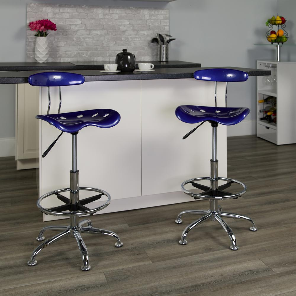 Vibrant Deep Blue and Chrome Drafting Stool with Tractor Seat. Picture 5