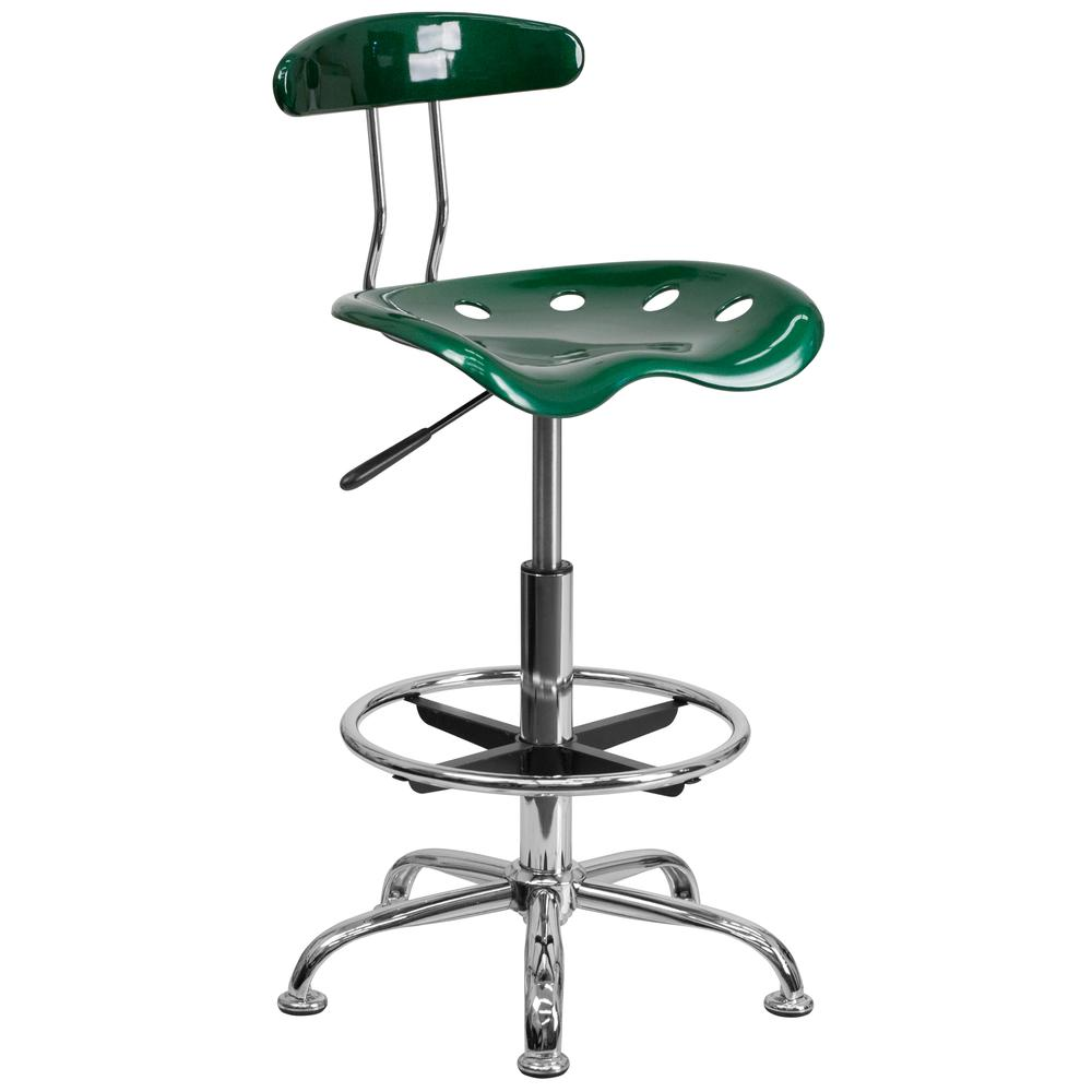 Vibrant Green and Chrome Drafting Stool with Tractor Seat. Picture 1