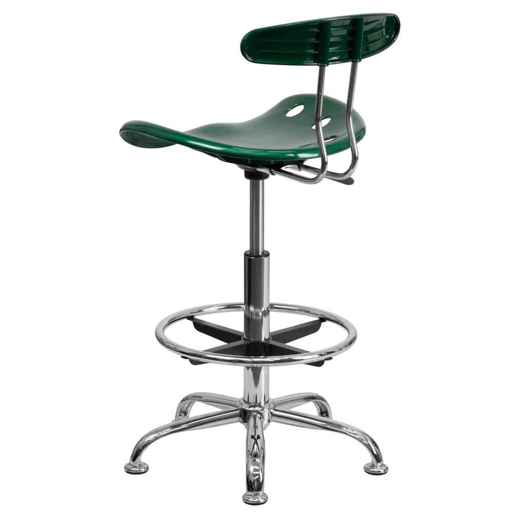 Vibrant Green and Chrome Drafting Stool with Tractor Seat. Picture 3