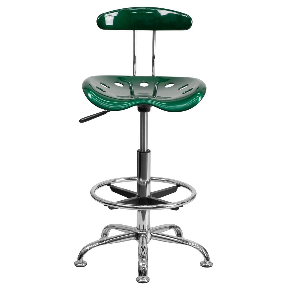 Vibrant Green and Chrome Drafting Stool with Tractor Seat. Picture 4