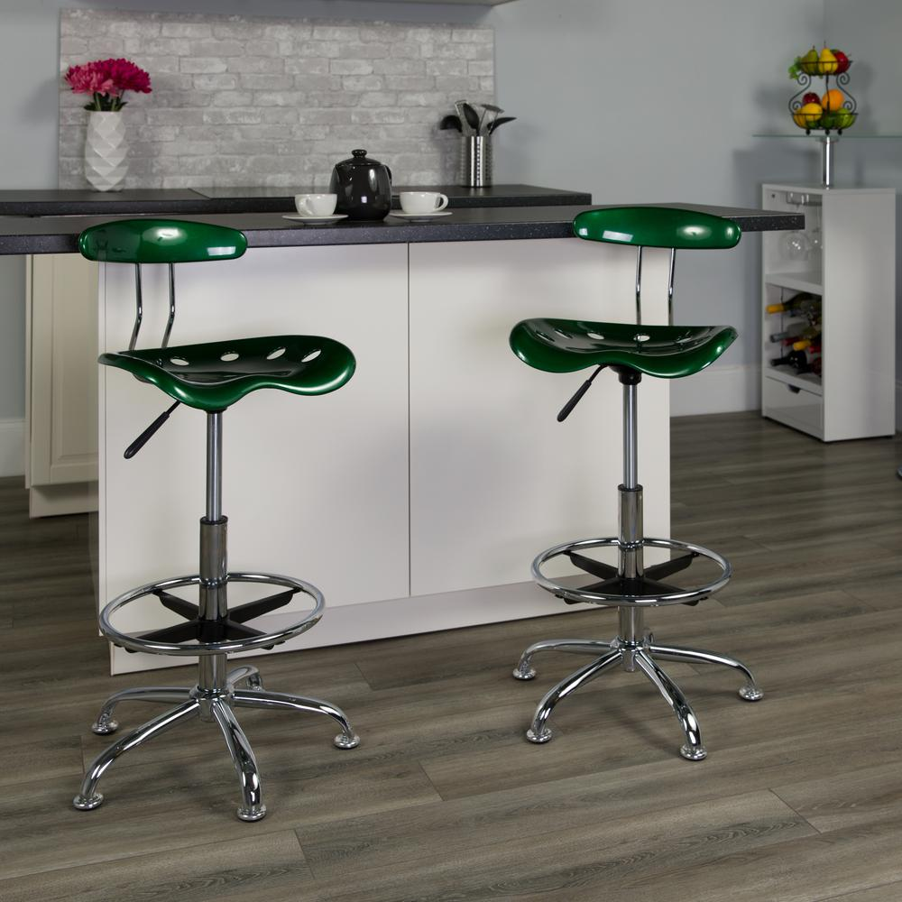 Vibrant Green and Chrome Drafting Stool with Tractor Seat. Picture 5