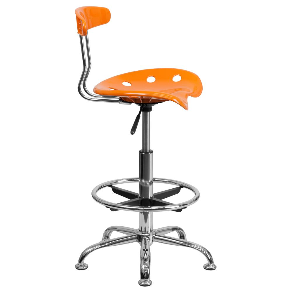 Vibrant Orange and Chrome Drafting Stool with Tractor Seat. Picture 2