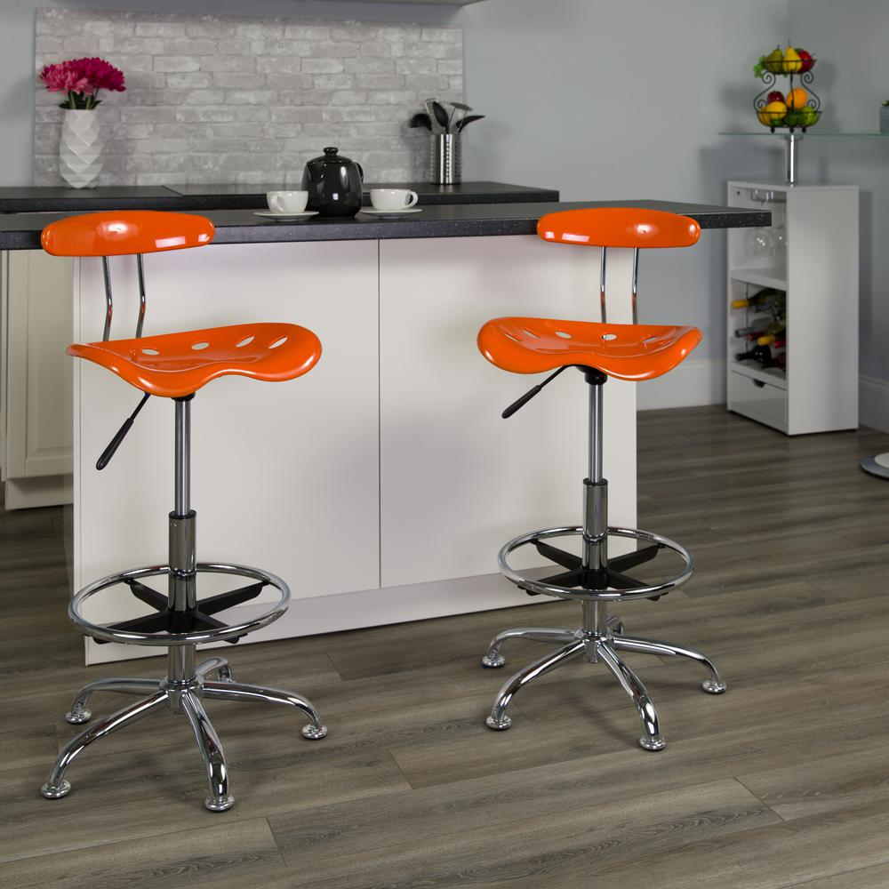 Vibrant Orange and Chrome Drafting Stool with Tractor Seat. Picture 5