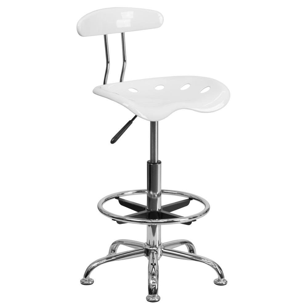 Vibrant White and Chrome Drafting Stool with Tractor Seat. Picture 1