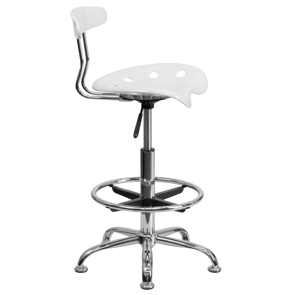 Vibrant White and Chrome Drafting Stool with Tractor Seat. Picture 2