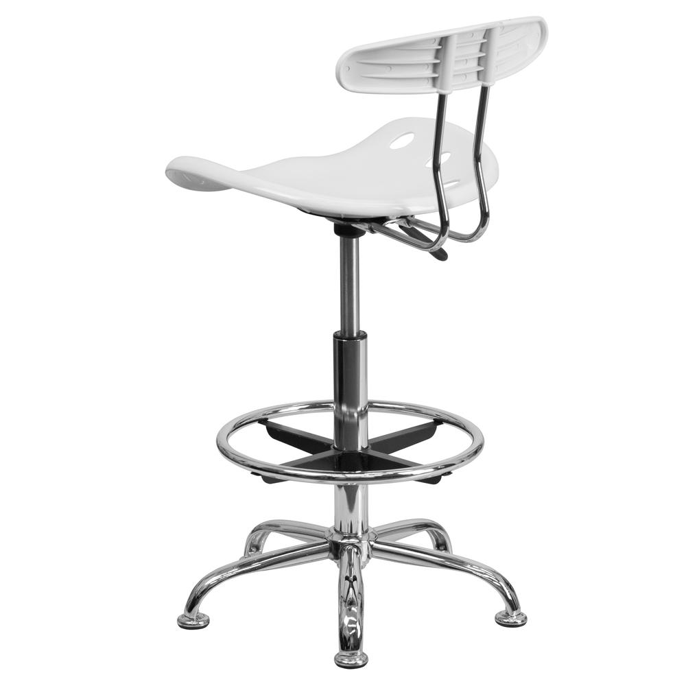 Vibrant White and Chrome Drafting Stool with Tractor Seat. Picture 3