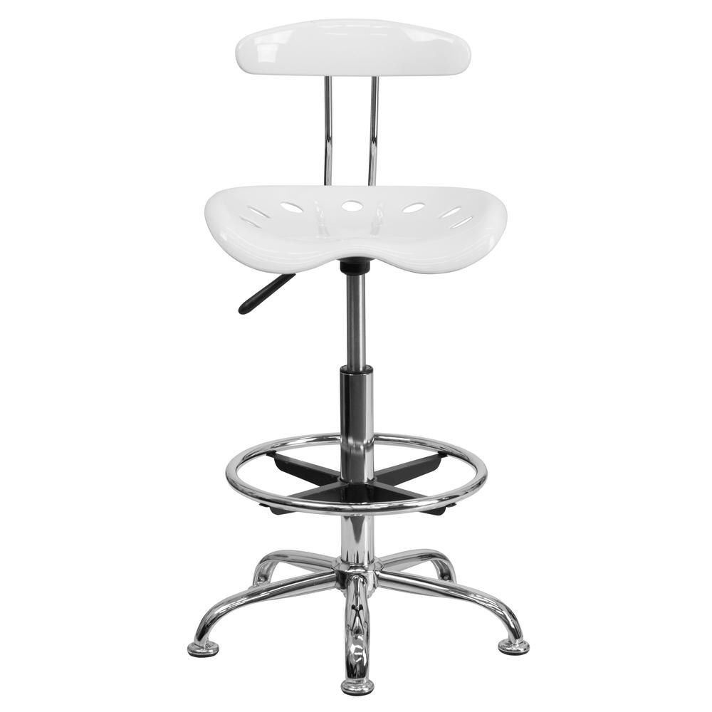Vibrant White and Chrome Drafting Stool with Tractor Seat. Picture 4