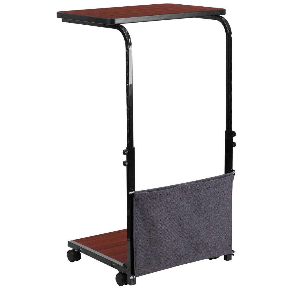 Mobile Sit-Down, Stand-Up Mahogany Computer Ergonomic Desk with Removable Pouch (Adjustable Range 27'' - 46.5''). Picture 1