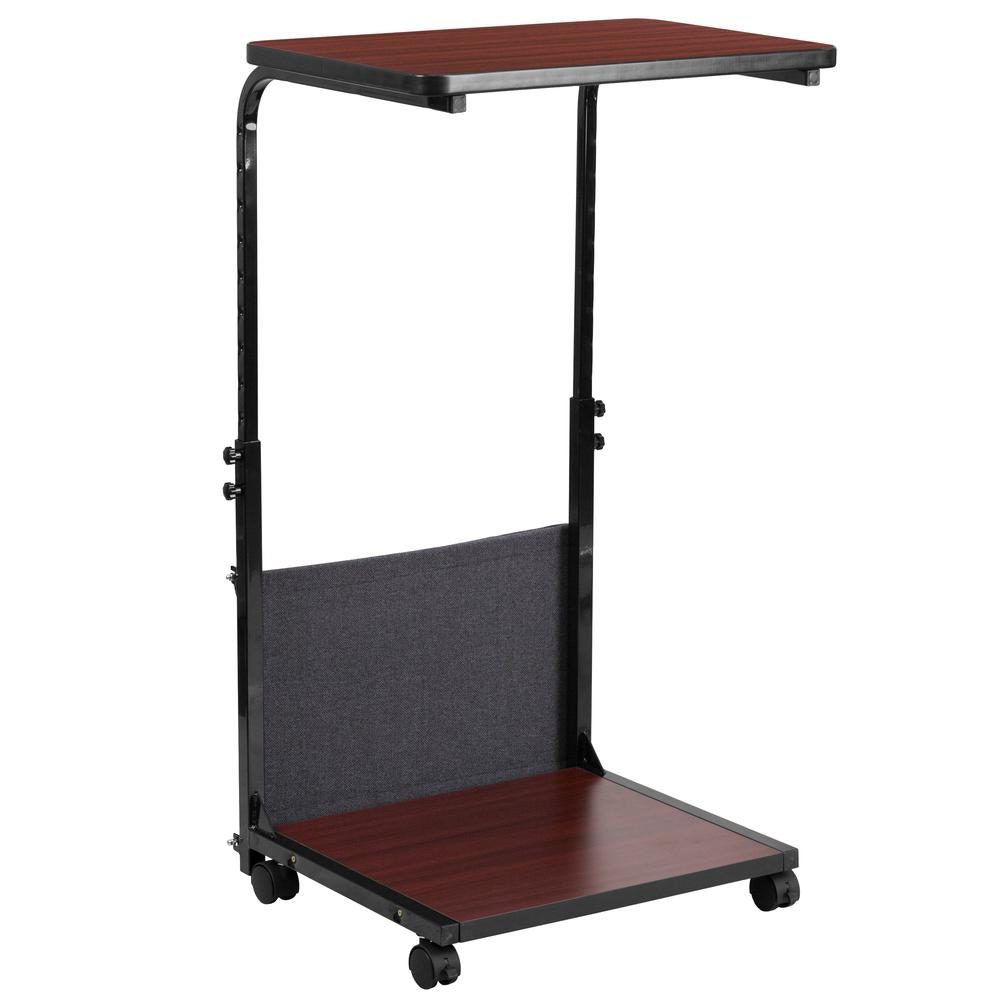 Mobile Sit-Down, Stand-Up Mahogany Computer Ergonomic Desk with Removable Pouch (Adjustable Range 27'' - 46.5''). Picture 2