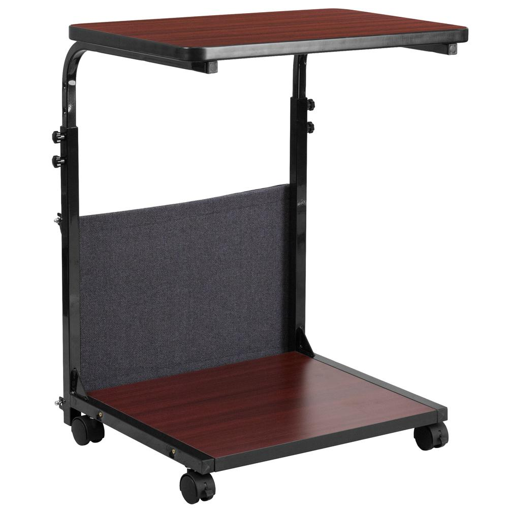 Mobile Sit-Down, Stand-Up Mahogany Computer Ergonomic Desk with Removable Pouch (Adjustable Range 27'' - 46.5''). Picture 3