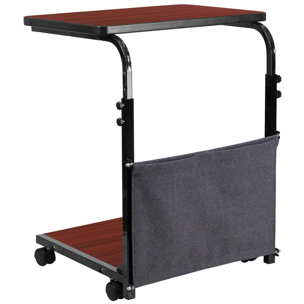 Mobile Sit-Down, Stand-Up Mahogany Computer Ergonomic Desk with Removable Pouch (Adjustable Range 27'' - 46.5''). Picture 4