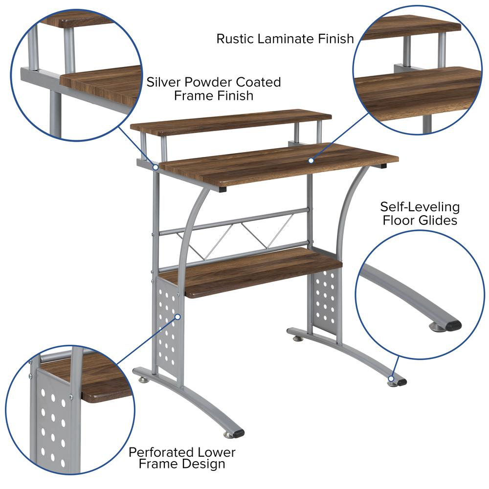 Clifton Rustic Walnut Computer Desk with Top and Lower Storage Shelves