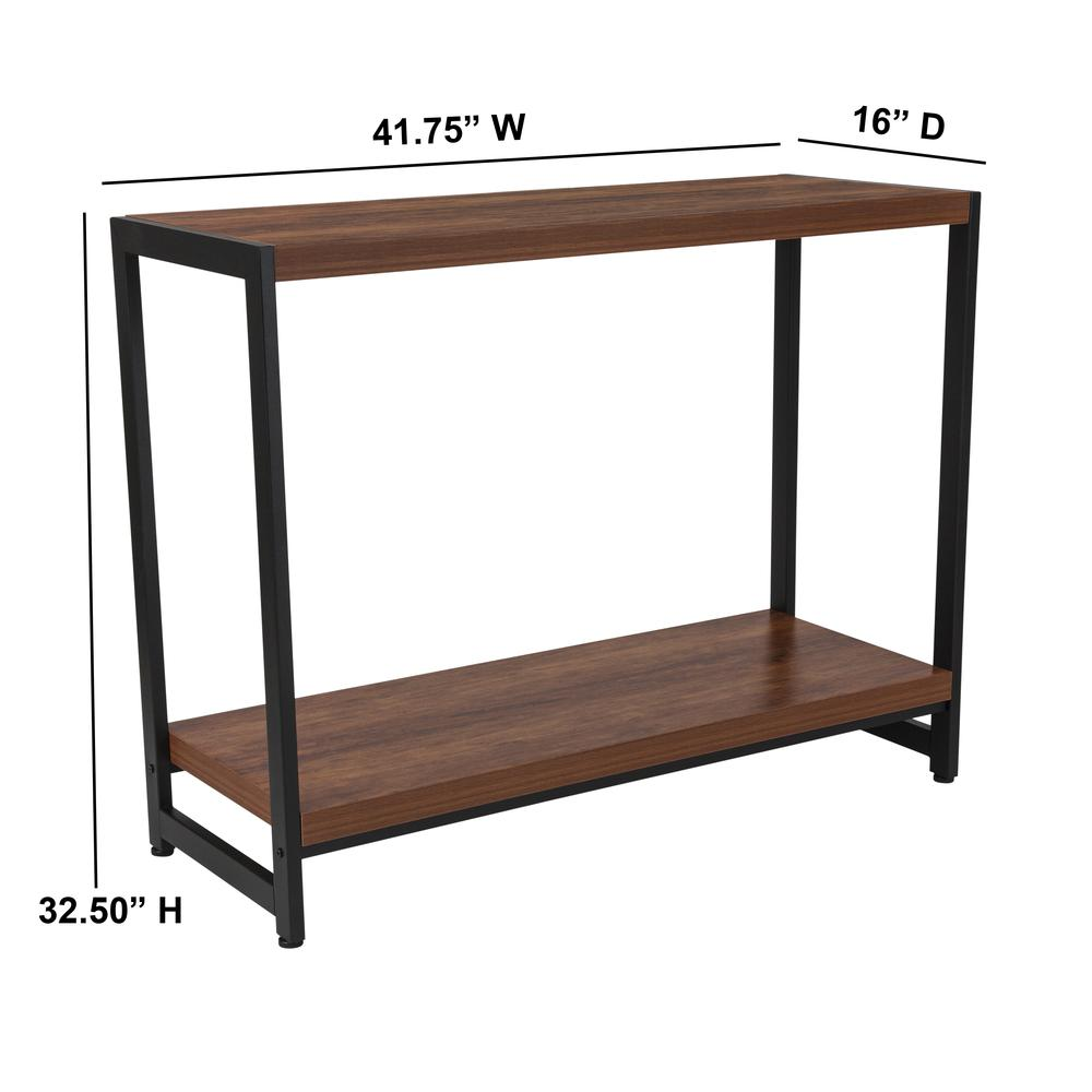 Rustic Wood Grain Finish Console Table with Lower Storage and Black Metal Frame. Picture 2