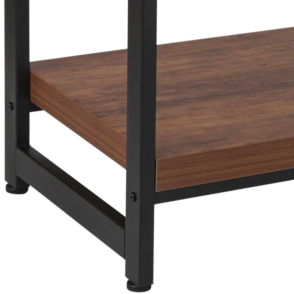 Rustic Wood Grain Finish Console Table with Lower Storage and Black Metal Frame. Picture 4