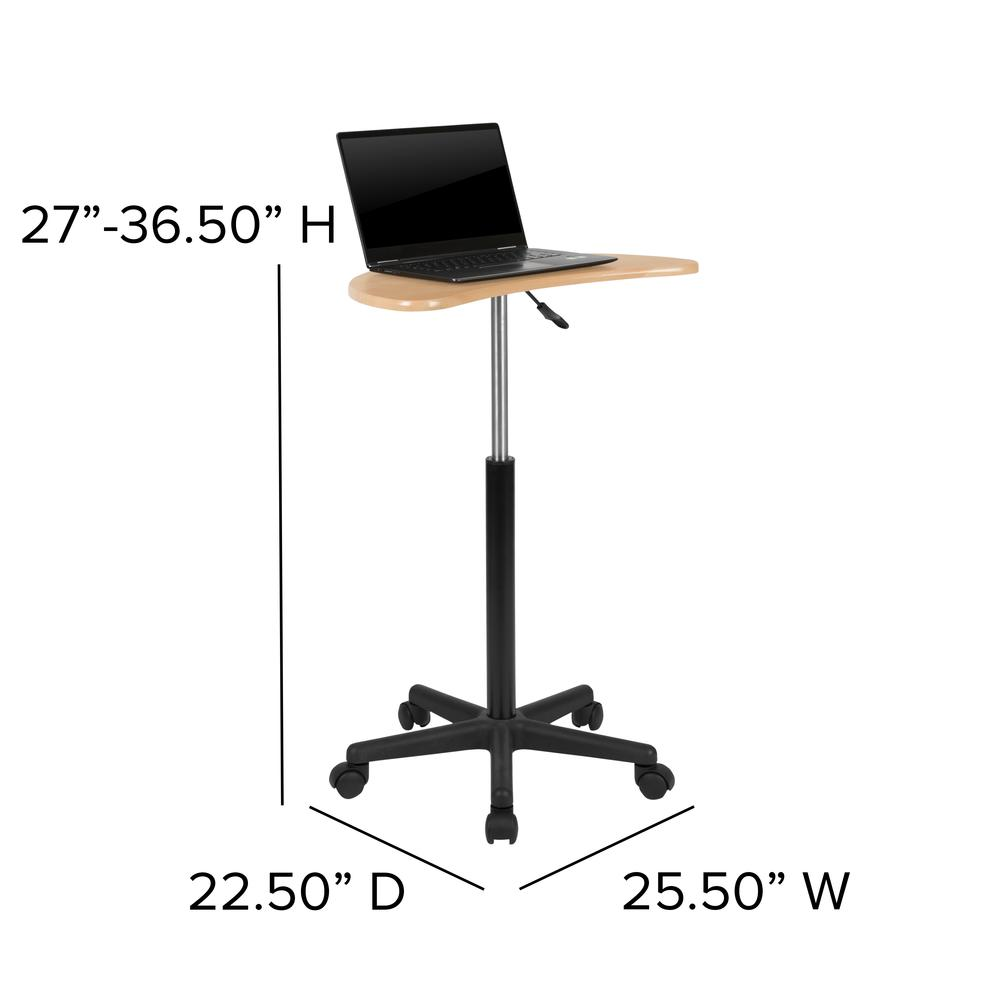 Maple Sit to Stand Mobile Laptop Computer Desk. Picture 2