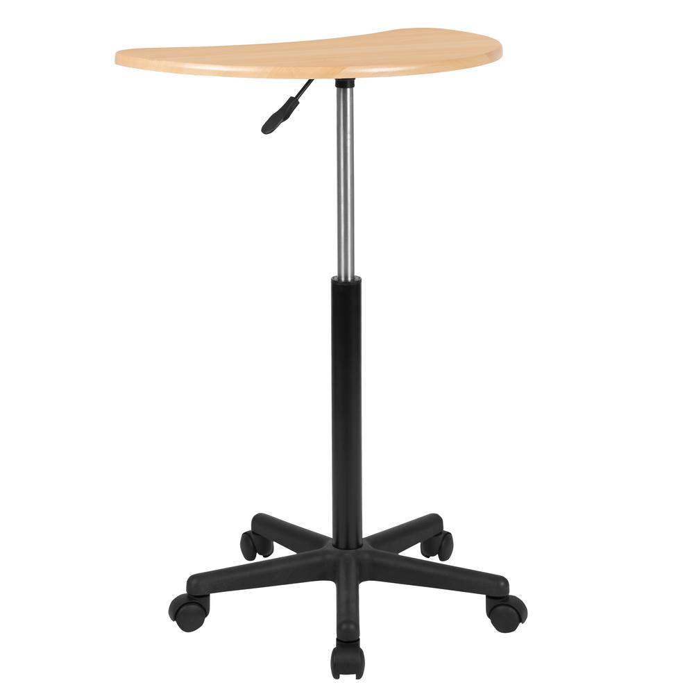 Maple Sit to Stand Mobile Laptop Computer Desk. Picture 4