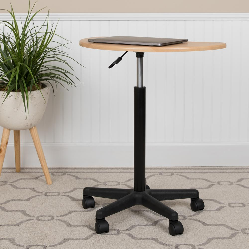 Maple Sit to Stand Mobile Laptop Computer Desk. Picture 12