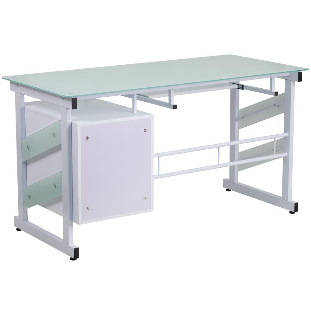White Computer Desk With Frosted Glass Top And Three Drawer Pedestal Thumbnail