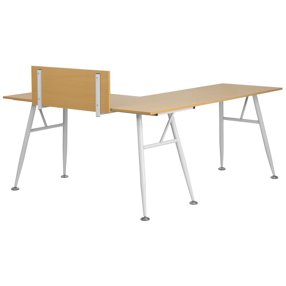 Beech Laminate L Shape Computer Desk With White Metal Frame