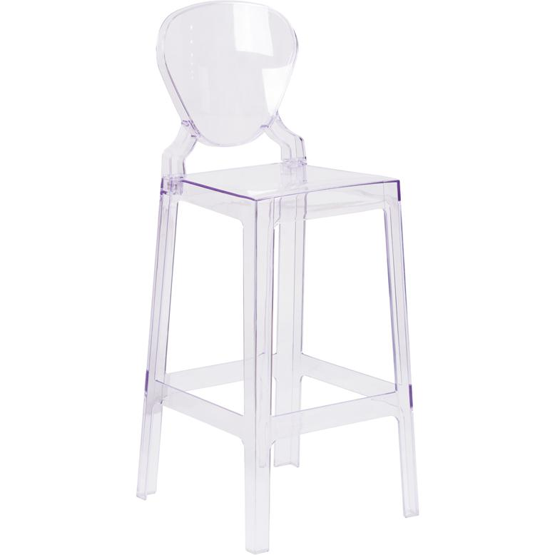 Ghost Barstool with Tear Back in Transparent Crystal. Picture 1