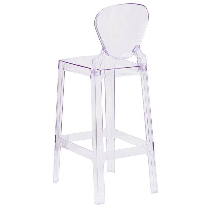 Ghost Barstool with Tear Back in Transparent Crystal. Picture 3