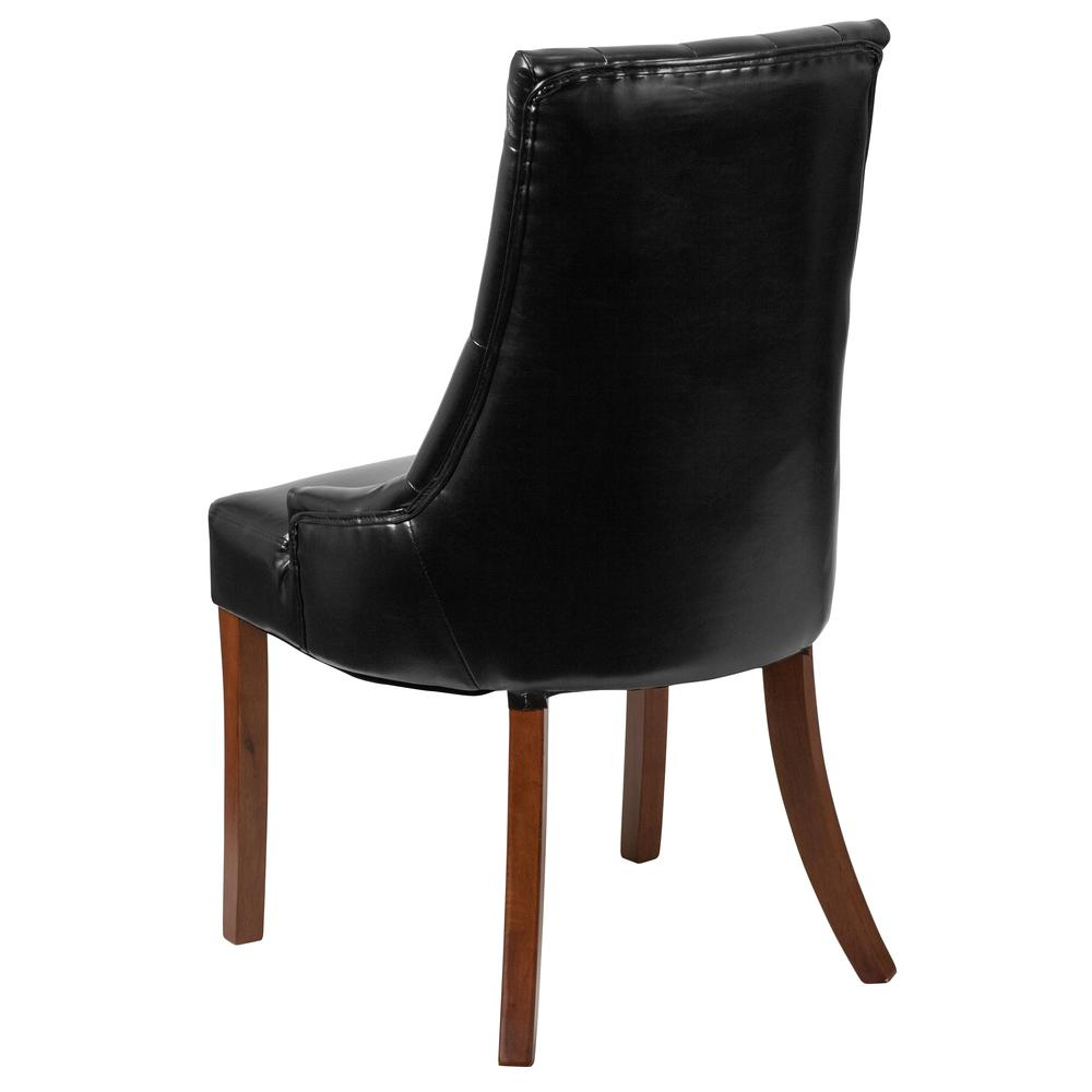 Black LeatherSoft Tufted Chair with Curved Mahogany Legs. Picture 3