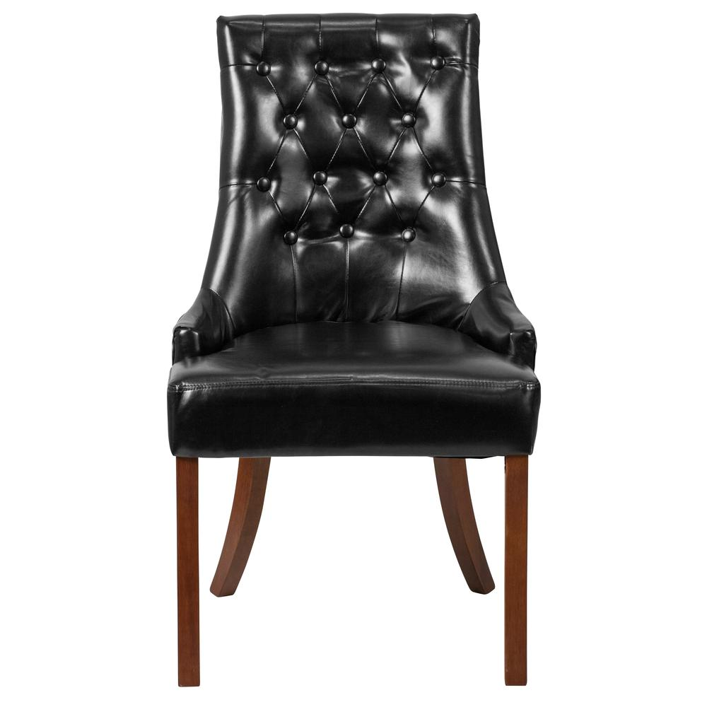Black LeatherSoft Tufted Chair with Curved Mahogany Legs. Picture 4