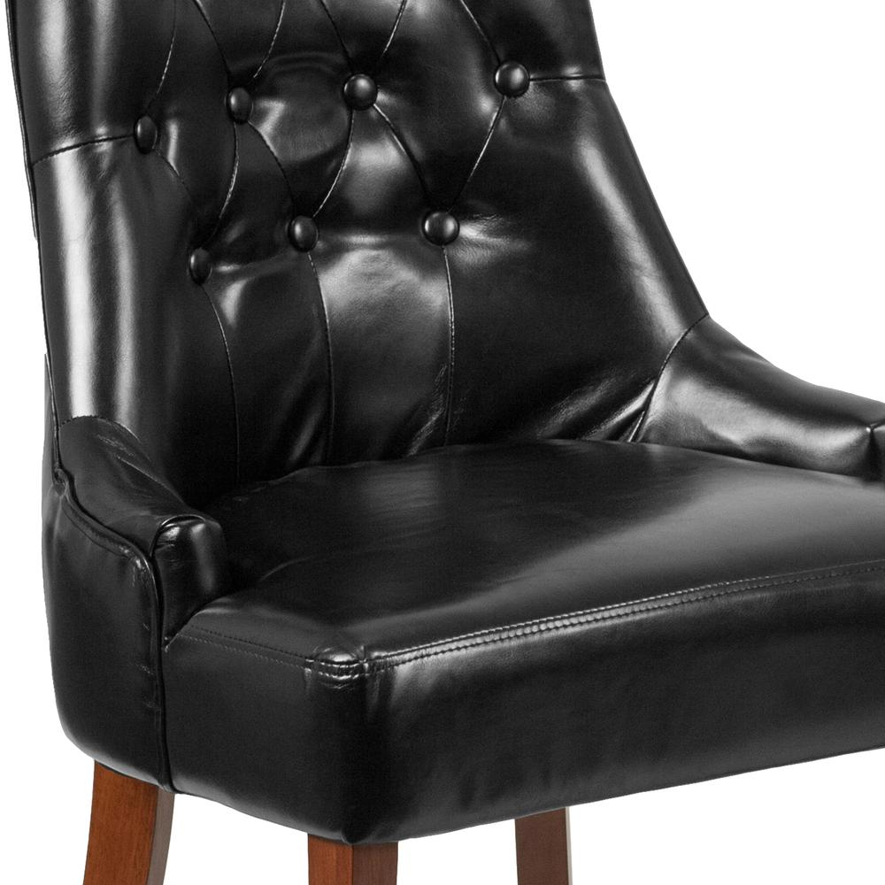 Black LeatherSoft Tufted Chair with Curved Mahogany Legs. Picture 5