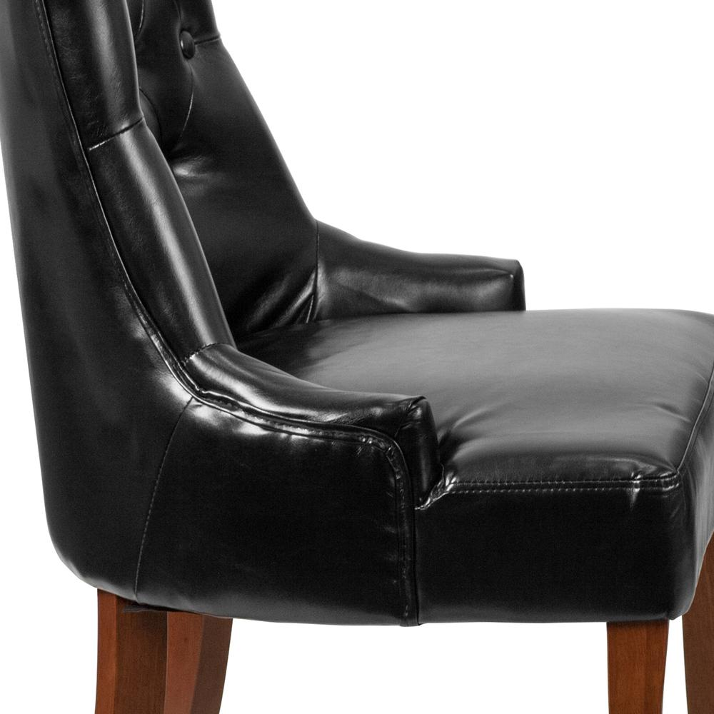 Black LeatherSoft Tufted Chair with Curved Mahogany Legs. Picture 6