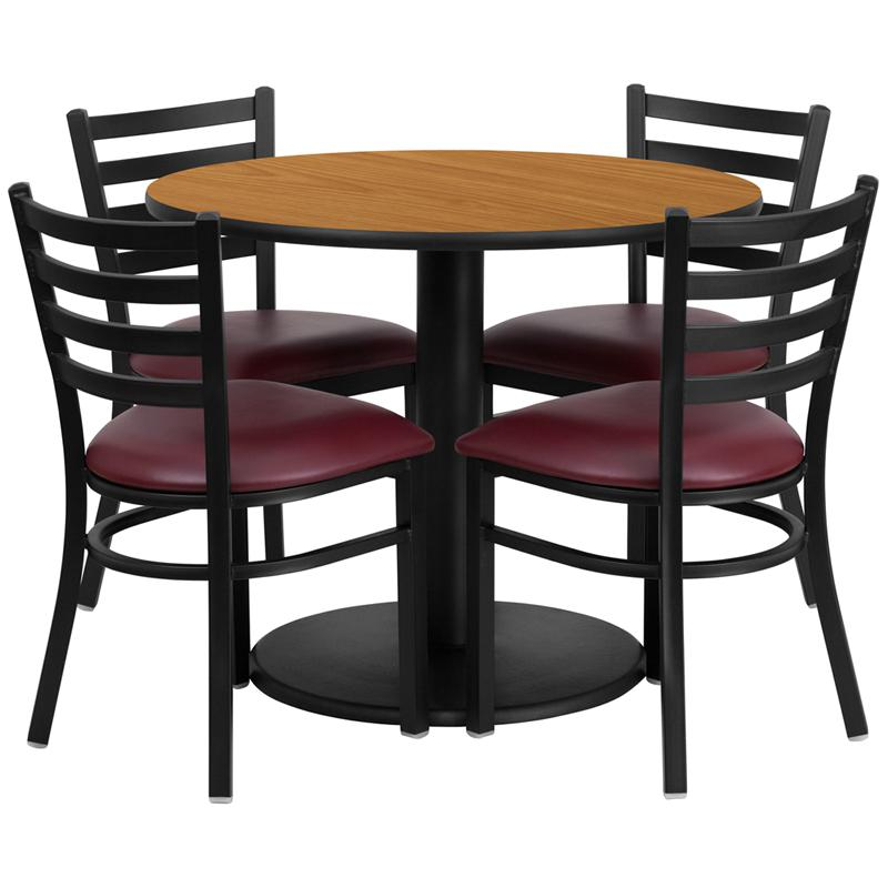 36'' Round Natural Laminate Table Set with Round Base and 4 Ladder Back Metal Chairs - Burgundy Vinyl Seat. Picture 1